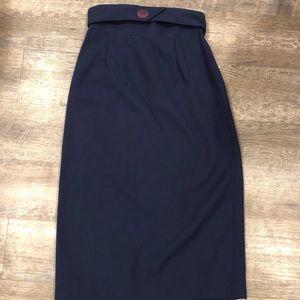 VTG 1980's Dark Blue Pencil Skirt